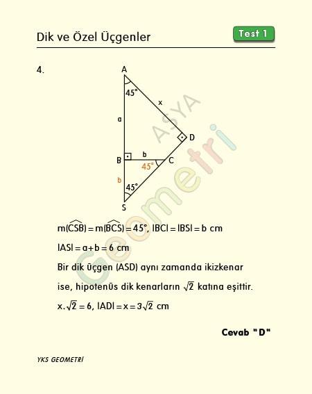 45 45 90 üçgeni soru çözümü