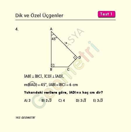 45 45 90 üçgeni soruları