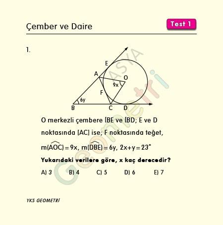 çember ve daire çözümlü test1