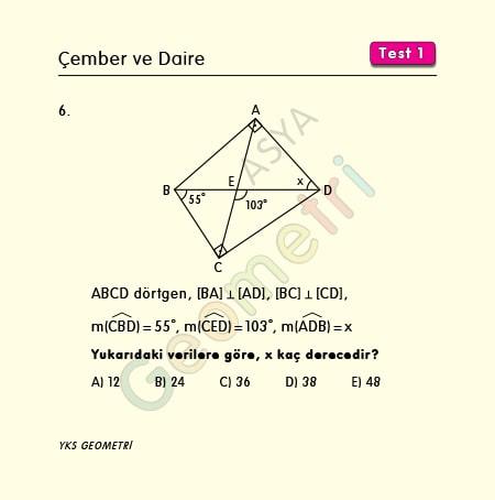 çemberde açı kirişler dörtgeni soruları