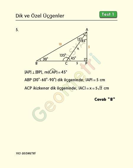 dik üçgen çözümlü sorular