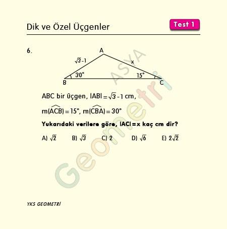 dik üçgen soruları