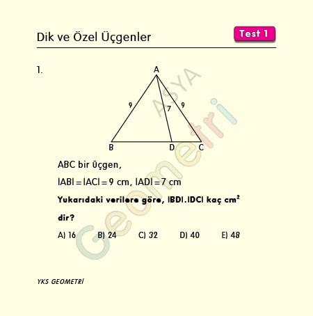 dik ve özel üçgenler test1
