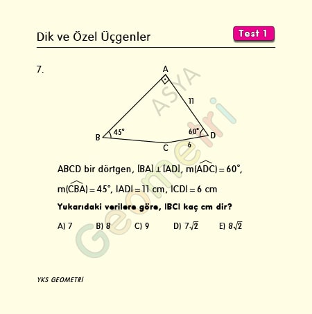 özel üçgen soruları
