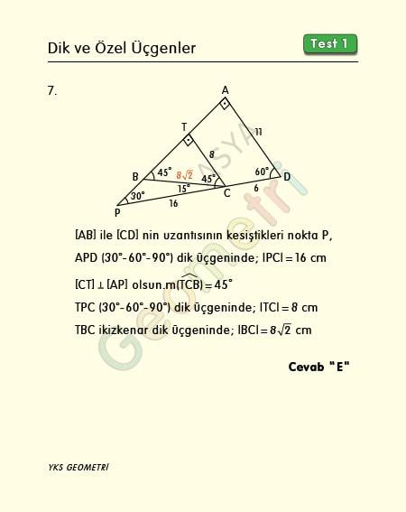 özel üçgenler çözümlü sorular