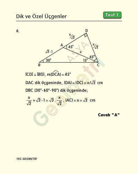 özel üçgenler soru çözümü