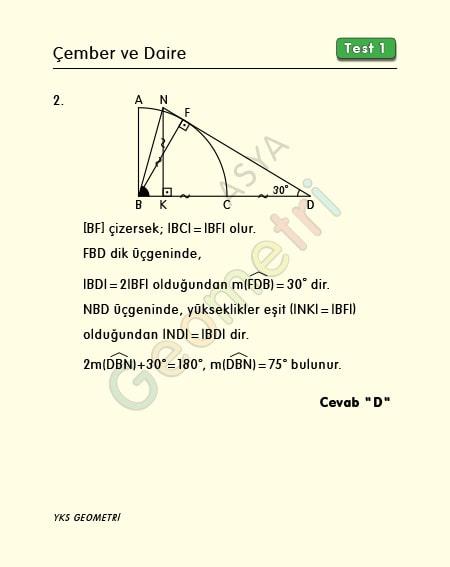 tyt geometri çözümleri çember
