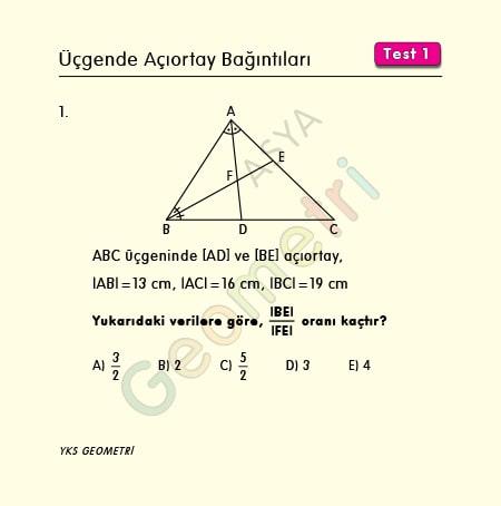 üçgende açıortay bağıntıları test1