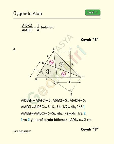 üçgende alan çözümlü sorular