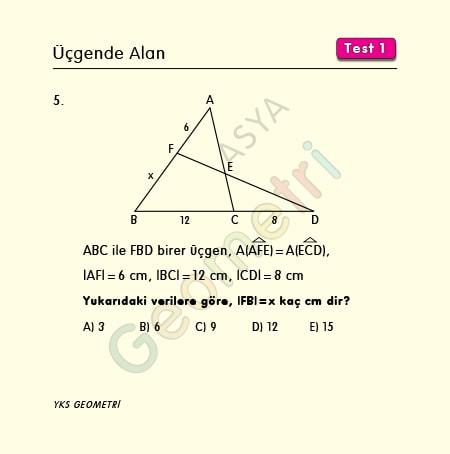 üçgende alan sinüs formülü soruları