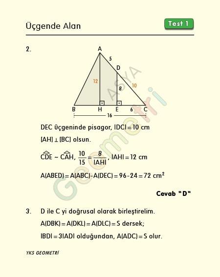 üçgende alan soru çözüm