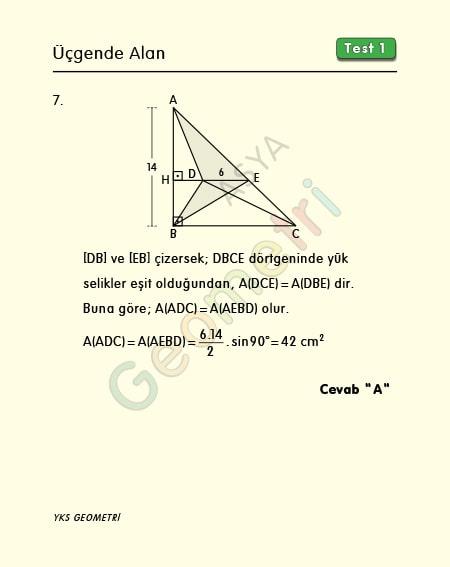 üçgende alan soru çözümleri