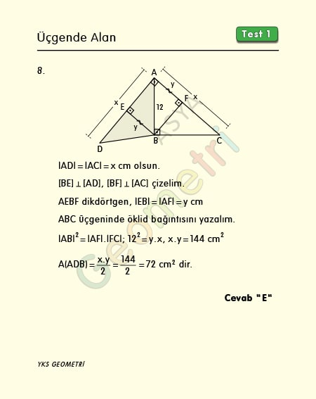 üçgende alan soruları ve çözümleri