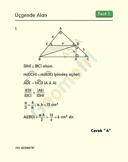 üçgende alan test1 çözümleri