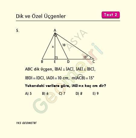 15 75 90 üçgeni soruları