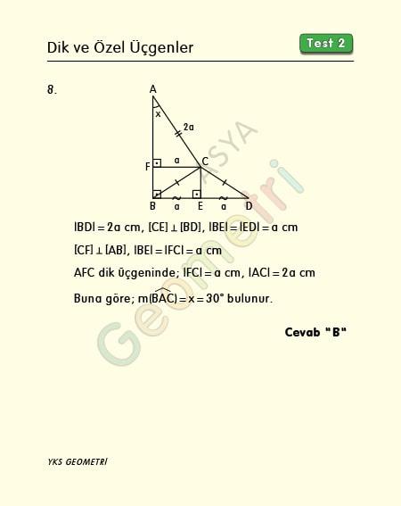 30 60 90 üçgeni çözümlü örnek