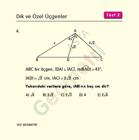 45 45 90 üçgeni ile ilgili sorular