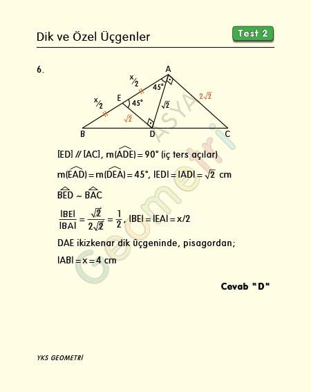 dik üçgen soruları çözümlü