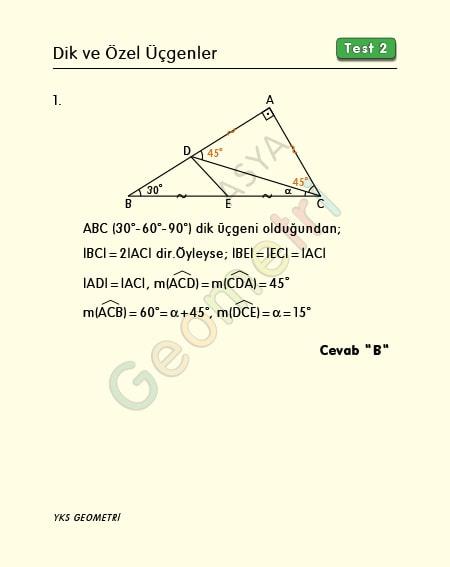 dik ve özel üçgenler test2 çözümleri