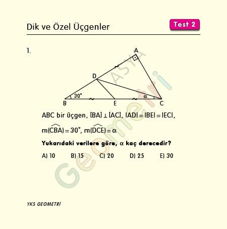 dik ve özel üçgenler test