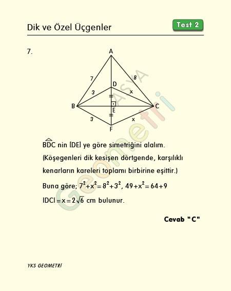 pisagor çözümlü sorular
