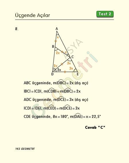 matematik üçgenler test