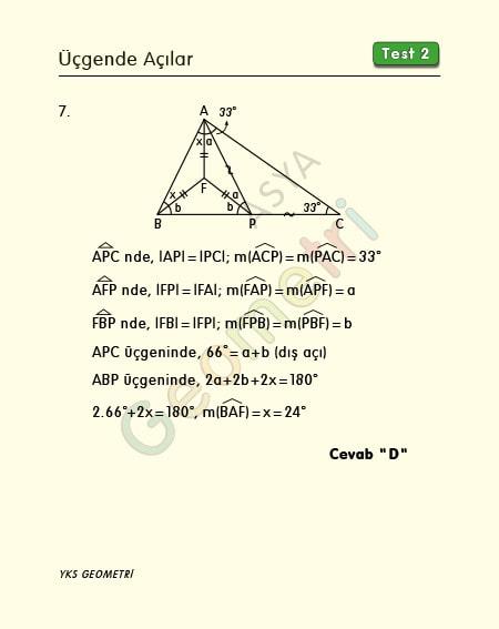 üçgende açılar çözümlü sorular