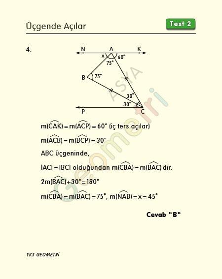 üçgende açılar soru çözümü