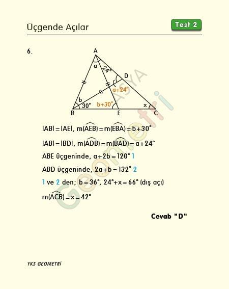 üçgende açılar soruları ve cevapları