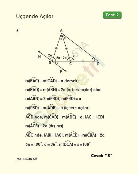 üçgende açılar soruları ve çözümleri