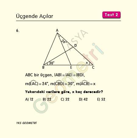 üçgenler çözümlü sorular