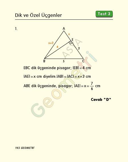 dik ve özel üçgenler test 3 çözümleri