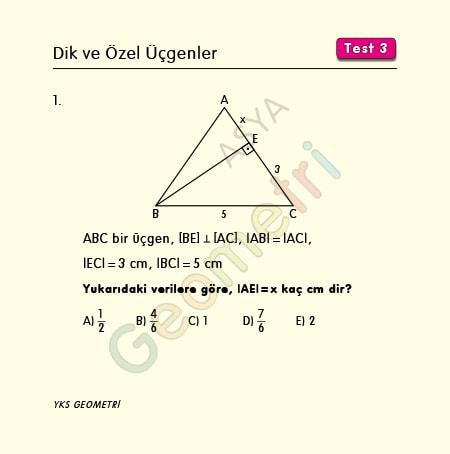 dik ve özel üçgenler test 3
