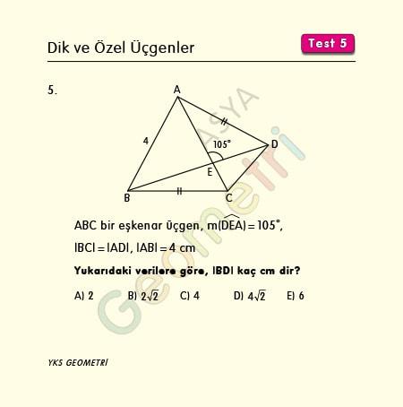 eşkenar üçgen açı ve uzunluk soruları