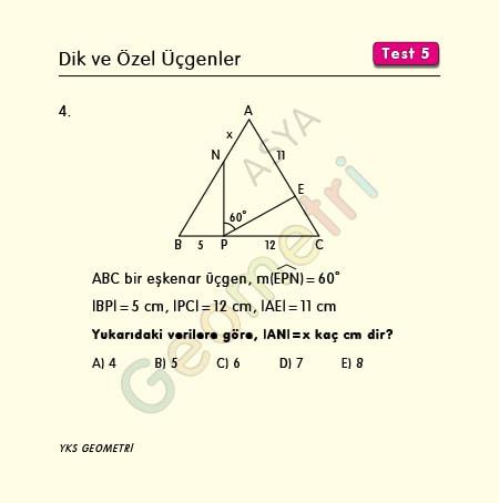 eşkenar üçgen benzerlik soruları