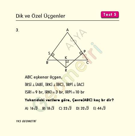 eşkenar üçgen çevre soruları