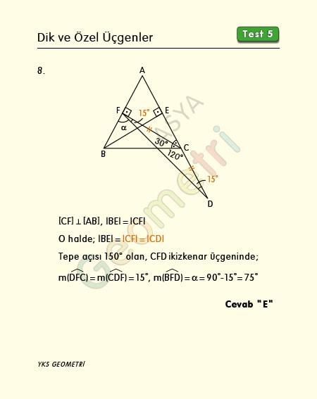 eşkenar üçgen çözümlü örnek sorular