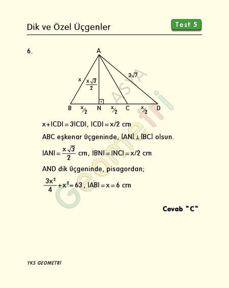 eşkenar üçgen çözümlü sorular 9 sınıf
