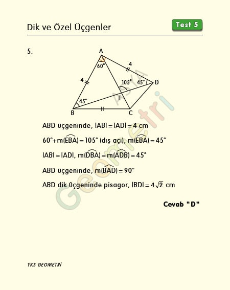 eşkenar üçgen soru çözümleri
