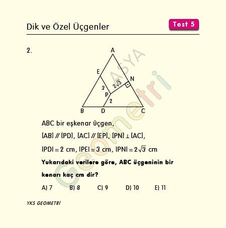 eşkenar üçgen soruları 9 sınıf