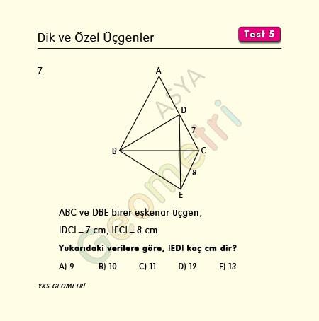 eşkenar üçgen soruları kolay
