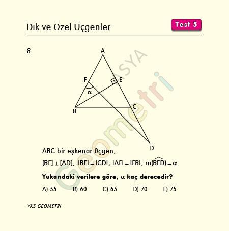 eşkenar üçgen yükseklik soruları