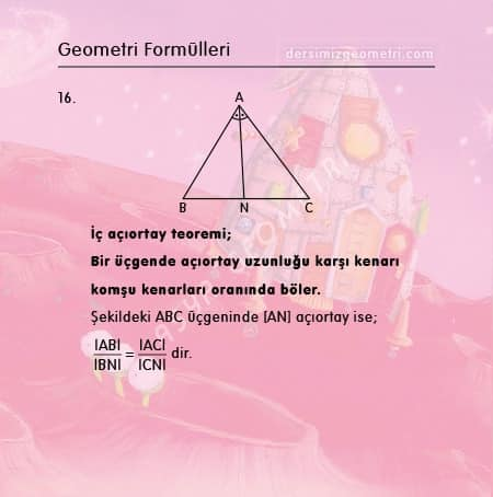 iç açıortay teoremi formülü