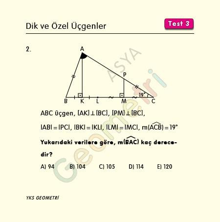 ikizkenar üçgen açı soruları
