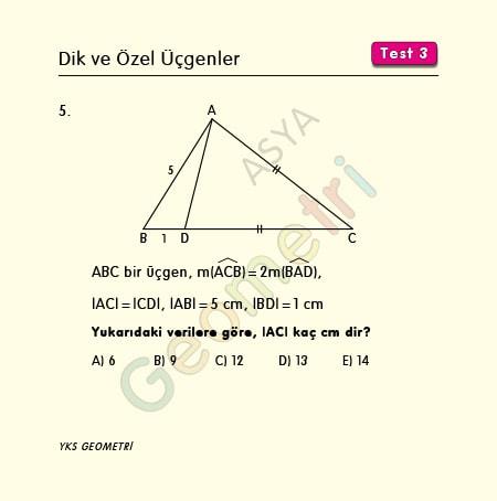 ikizkenar üçgen çözümlü sorular
