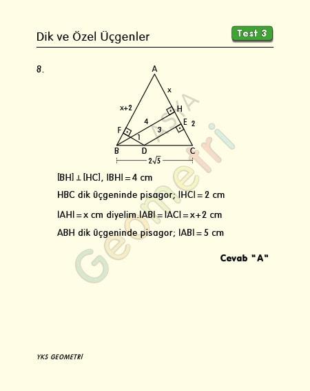 ikizkenar üçgen diklik çözümü
