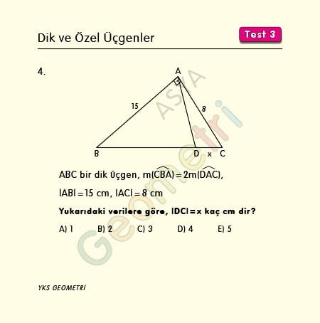 ikizkenar üçgen örnek sorular