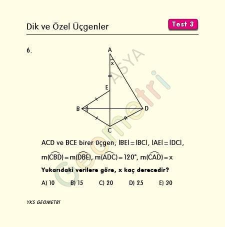 ikizkenar üçgende açı soruları