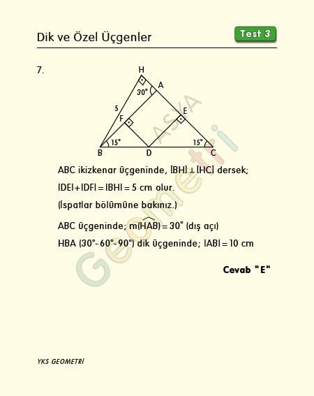 ikizkenar üçgende diklik soru çözümü