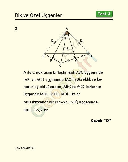 ikizkenar üçgende uzunluk soru çözümü